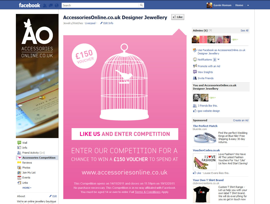 Accessories Online Facebook Competition - igoo Website Design
