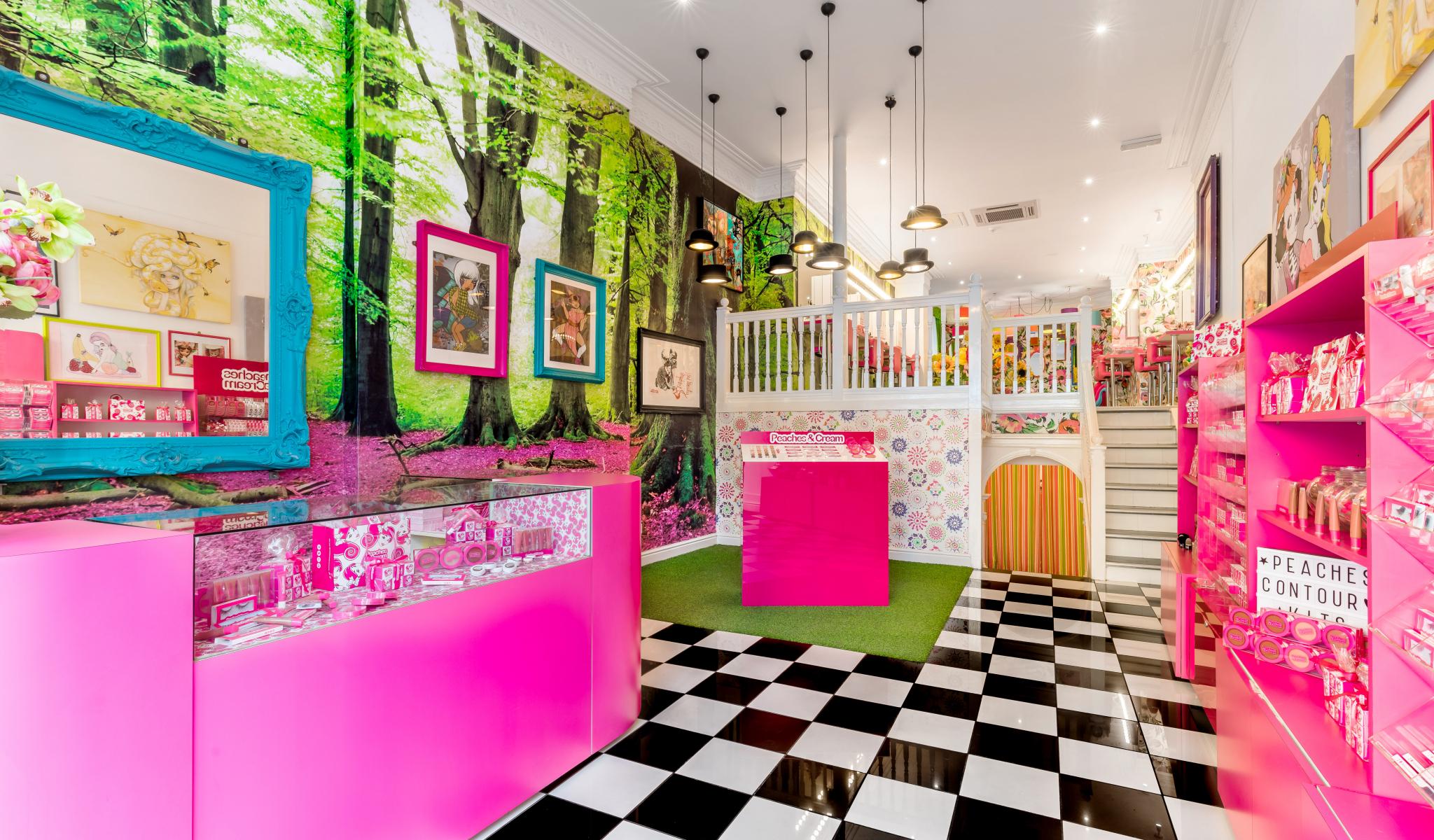 Inside interior of the Peaches & Cream salon
