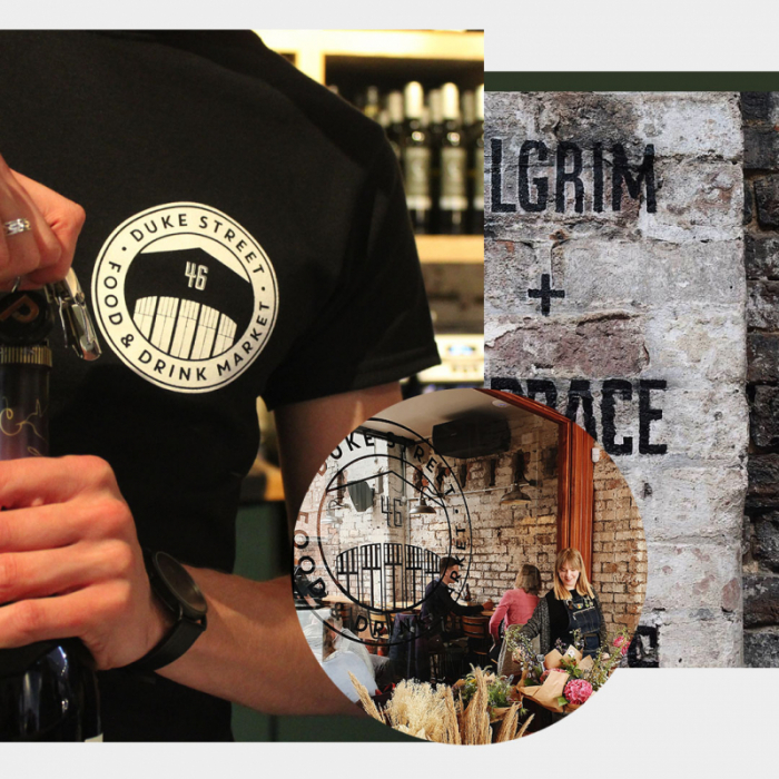 An image of the new Duke Street Market logo on a t shirt, an image of a menu and an image of customers at the market