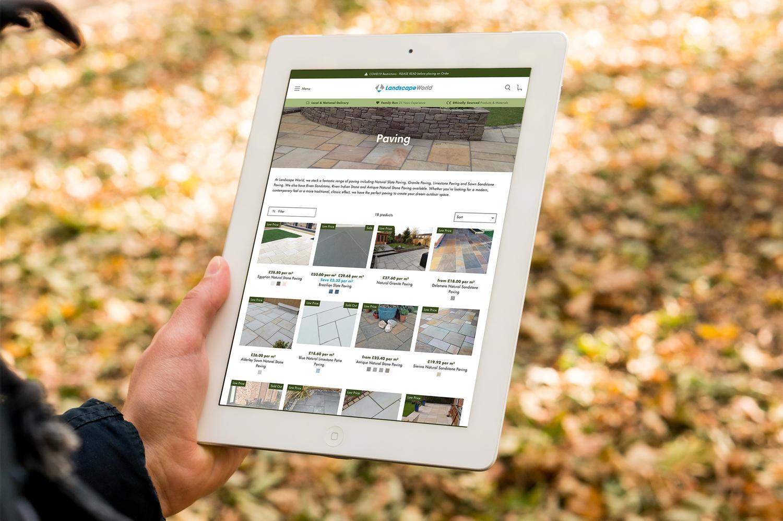 Landscape World new Shopify website displayed on a tablet